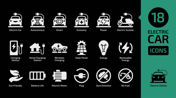 Electric car and scooter shape icon set on a black background with charging station, solar penel, renewable energy, eco friendly, battery life, zero emission, no fuel. Electric car and scooter shape icon set on a black background with charging station, solar penel, renewable energy, eco friendly, battery life, zero emission, no fuel. electric vehicle charging station stock illustrations