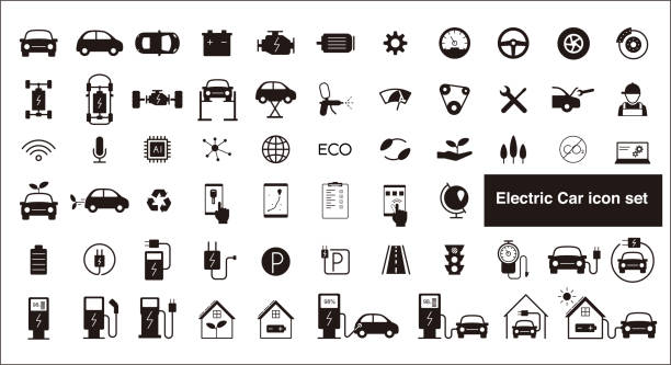 electric car and self-driving car icon set electric car and self-driving car icon set hybrid vehicle stock illustrations