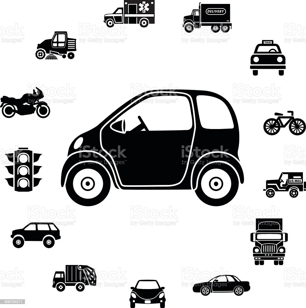 electric car and transportation icon border vector art illustration