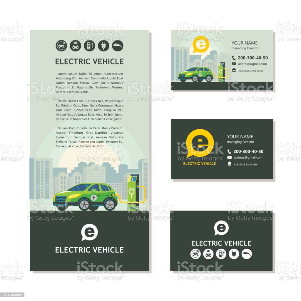 Electric Car At A Charging Station Service Vehicles Corporate Identity Show