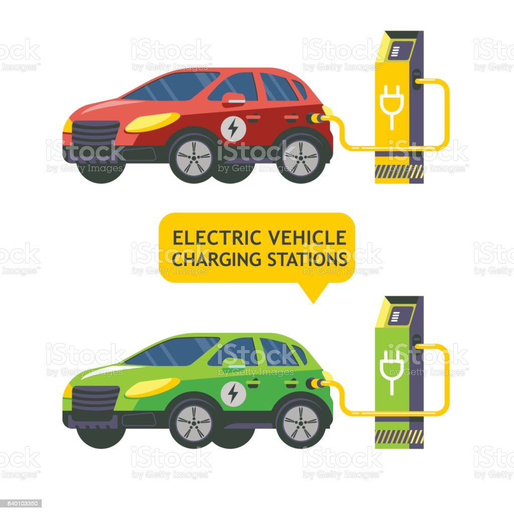 Electric car at a charging station. Service electric vehicles. Vector illustration. Flat style. vector art illustration