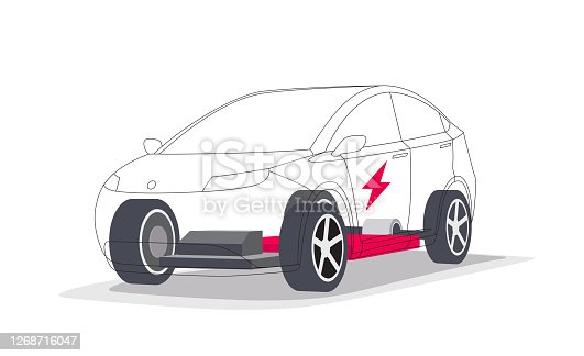 Modern electric car batteries modular platform board scheme with bodywork wheels. Electric skateboard module chassis components battery pack, motor powertrain, controller. Isolated vector illustration