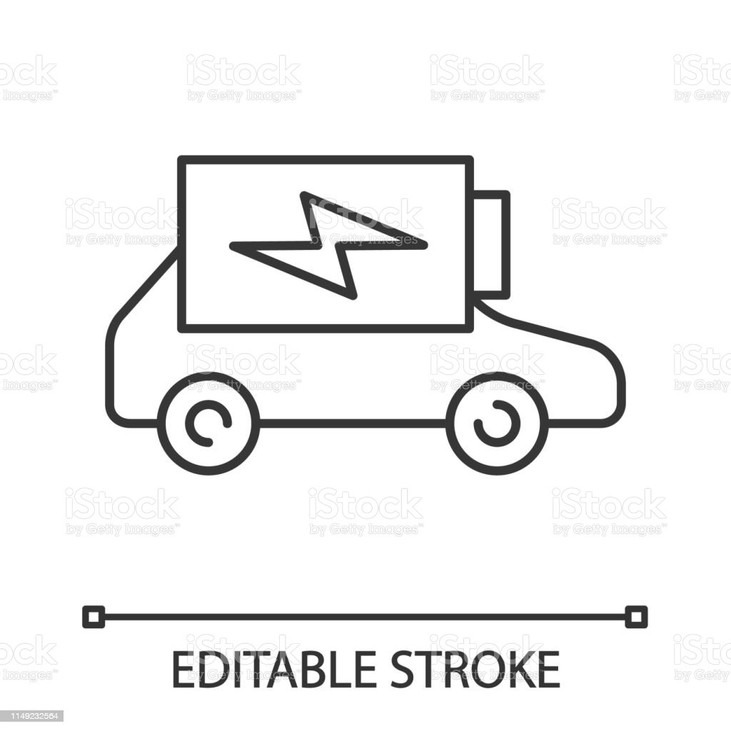 Electric car battery charging linear vector icon. Editable stroke....