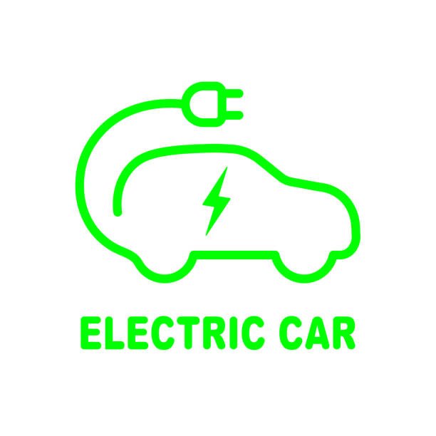 Electric car battery charging sign. Icon with flat style Electric car battery charging sign. Icon with flat style. EPS 10 electro music stock illustrations