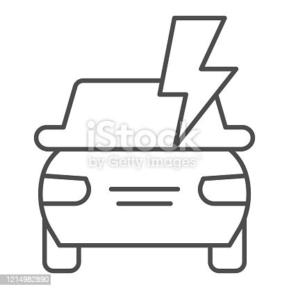 istock Electric car battery thin line icon. Automobile power, lightning, safe driving symbol, outline style pictogram on white background. Transport sign for mobile concept, web design. Vector graphics. 1214982890