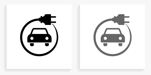 Electric Car Black and White Square Icon Electric Car Black and White Square Icon. This 100% royalty free vector illustration is featuring the square button with a drop shadow and the main icon is depicted in black and in grey for a roll-over effect. electric car stock illustrations