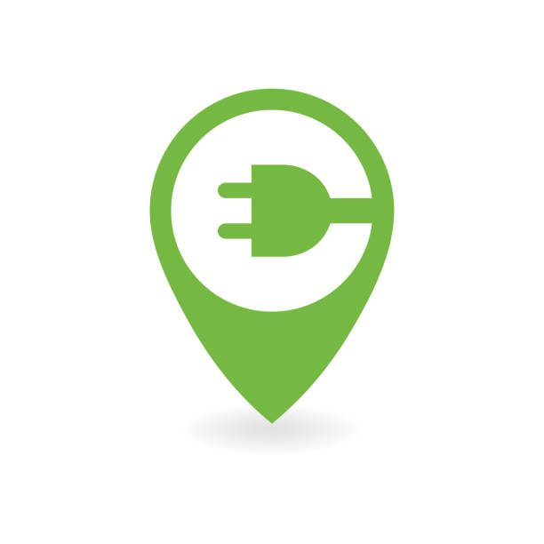 Electric car charge station map pin. Electric car charge station map pin. alternative fuel vehicle stock illustrations
