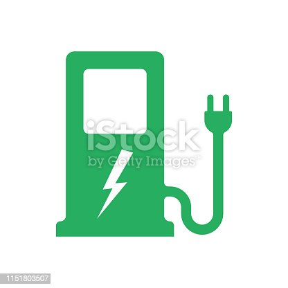 Electric car. Charger station. Electric refueling. Green eco transportation. Vector illustration flat design. Isolated on white background. Plug symbol. Voltage symbol vehicle.