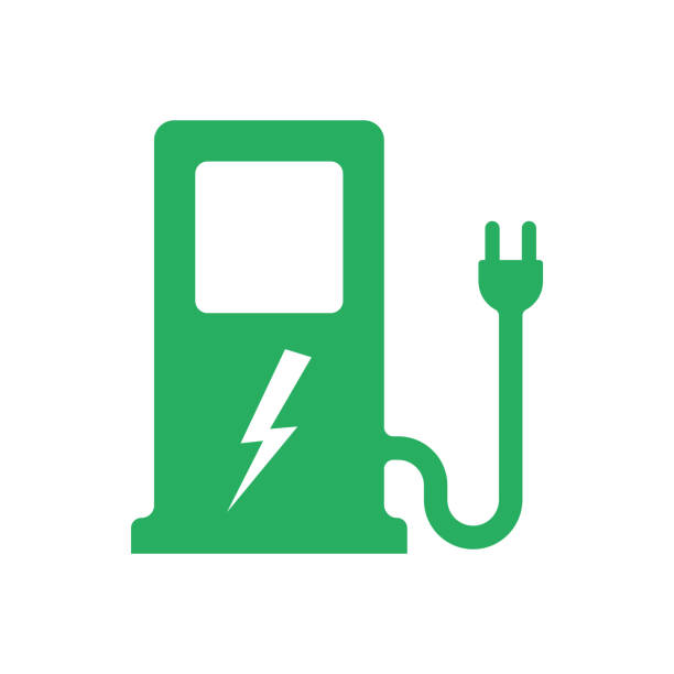 Electric car. Charger station Electric car. Charger station. Electric refueling. Green eco transportation. Vector illustration flat design. Isolated on white background. Plug symbol. Voltage symbol vehicle. electro music stock illustrations
