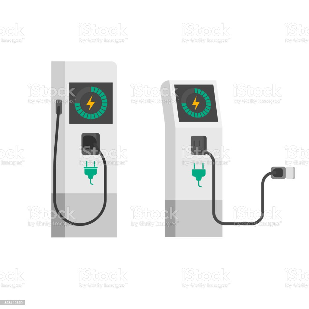 Electric car charger vector illustration, flat cartoon electric vehicle charging station with wire cable isolated vector art illustration