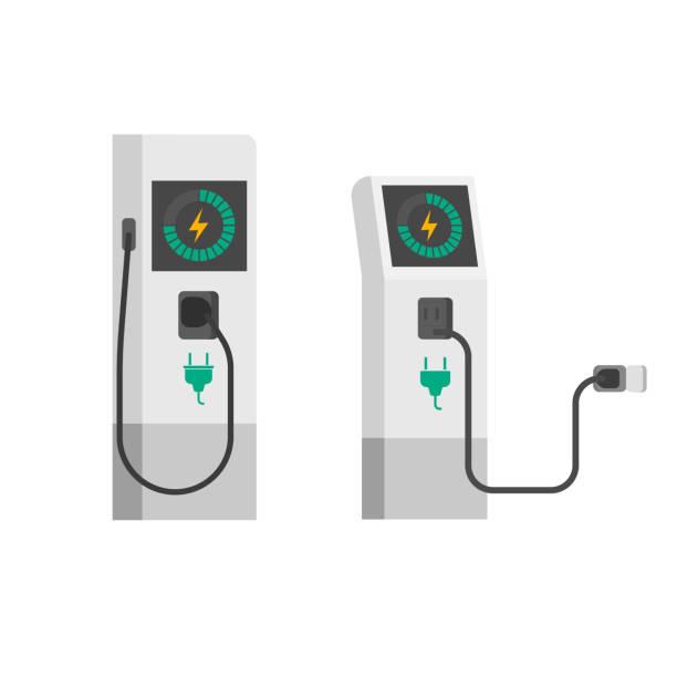 Electric car charger vector illustration, flat cartoon electric vehicle charging station with wire cable isolated Electric car charger vector illustration, flat cartoon electric vehicle charging station with wire cable isolated on white background electric vehicle charging station stock illustrations