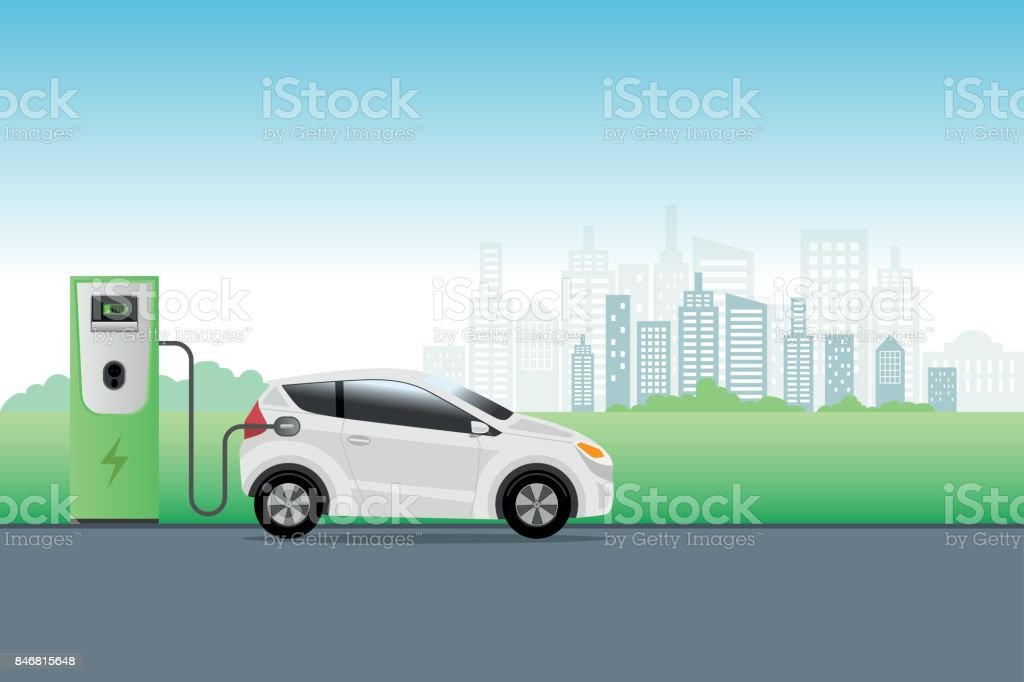 Electric car charging at charger service station front of eco city background. Hybrid Vehicle, Eco friendly auto or electric vehicle concept. vector art illustration
