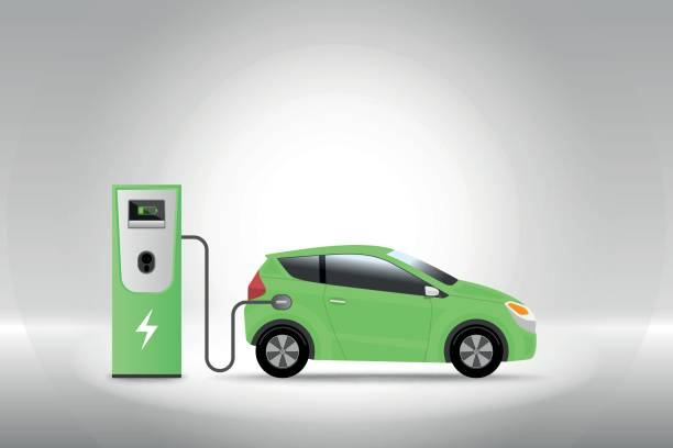 Electric car charging at charger service station with grey background. Hybrid Vehicle, Eco friendly auto or electric vehicle concept. Electric car charging at charger service station with grey background. Hybrid Vehicle, Eco friendly auto or electric vehicle concept. Vector illustration. electric vehicle charging station stock illustrations