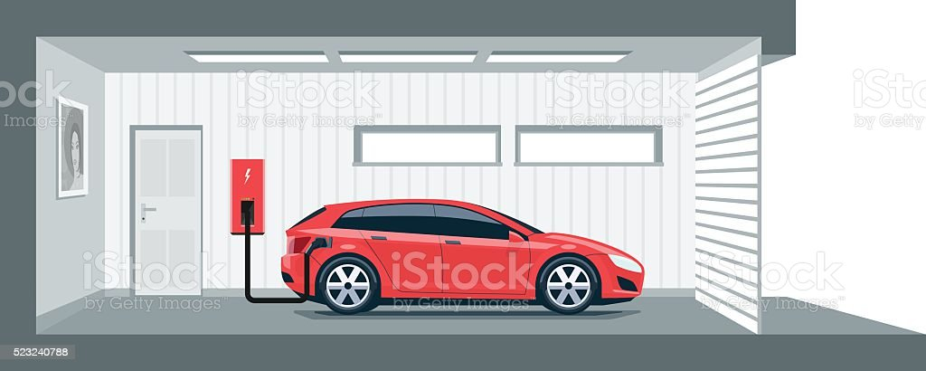 Electric Car Charging at Home in Garage vector art illustration