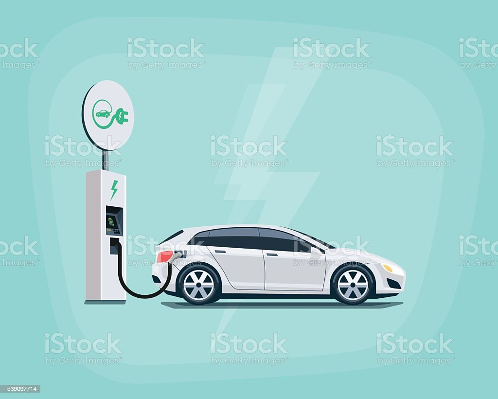 Electric Car Charging at the Charging Station on color background vector art illustration