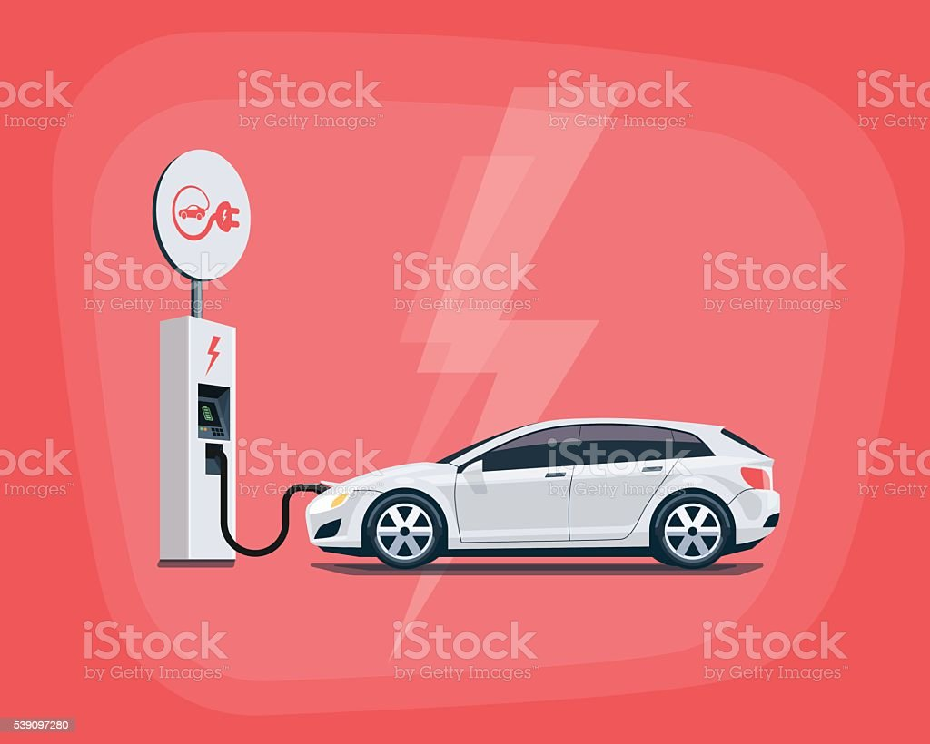 Electric Car Charging at the Charging Station on red background vector art illustration