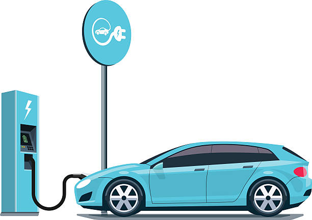 Electric Car Charging at the Charging Station on White Background Flat vector illustration of a blue electric car charging at the charger station with road sign. Electromobility eco e-motion concept. Isolated electric car refueling on white background. hybrid car stock illustrations
