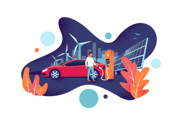 Electric Car Charging at the Charging Station with Renewable Energy Solar and Wind Power Generation Man is charging electric car is on renewable power station generation. Solar panels and wind turbine fuel plant with city skyline in the background. Modern fluid shape noise grain vector illustration. hybrid vehicle stock illustrations