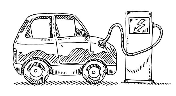 Electric Car Charging Batteries Drawing Hand-drawn vector drawing of an Electric Car Charging Batteries. Black-and-White sketch on a transparent background (.eps-file). Included files are EPS (v10) and Hi-Res JPG. environment stock illustrations