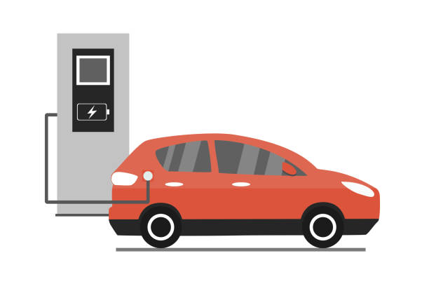 Electric car charging, Cartoon modern car Electric car charging, Cartoon modern red car isolated on white background,vector illustration electric car stock illustrations