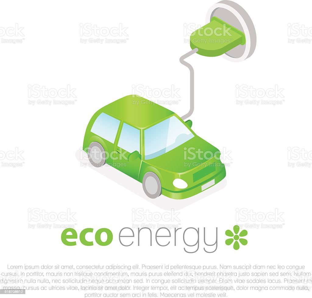 Electric car charging. Eco energy concept icon vector art illustration