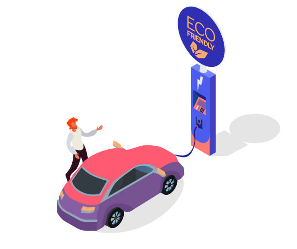 Electric car charging station concept. EV recharging point or EVSE. Plug-in vehicle getting energy from battery supply. Isometric flat car charging illustration. Solar panels and green energy Electric car charging station concept. EV recharging point or EVSE. Plug-in vehicle getting energy from battery supply. Isometric flat car charging illustration. Solar panels and green energy electric car stock illustrations