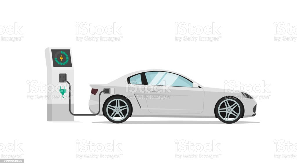 Electric car charging station vector illustration isolated, auto or automobile power charger flat design vector art illustration