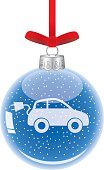 Vector illustration of an electric car inside a clear class christmas ornament.