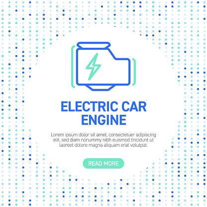 Electric Car Engine Line Icons. Simple Outline Icons with Pattern