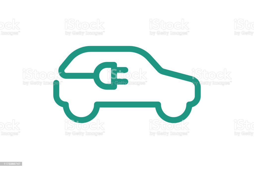 Electric car icon. Electrical cable plug charging green symbol. Eco friendly electric auto vehicle concept. Vector electricity illustration Electric car icon. Electrical automobile cable plug charging green symbol. Eco friendly electric auto vehicle concept. Vector electricity illustration Alternative Fuel Vehicle stock vector