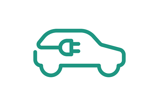 Electric car icon. Electrical cable plug charging green symbol. Eco friendly electric auto vehicle concept. Vector electricity illustration