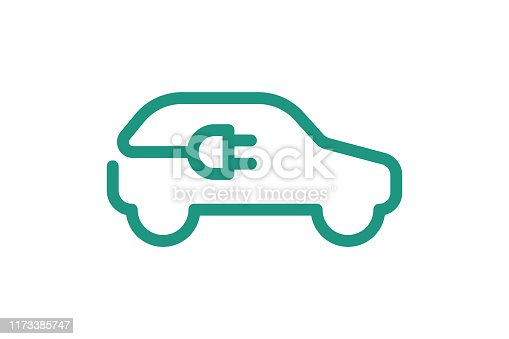Electric car icon. Electrical automobile cable plug charging green symbol. Eco friendly electric auto vehicle concept. Vector electricity illustration