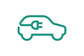istock Electric car icon. Electrical cable plug charging green symbol. Eco friendly electric auto vehicle concept. Vector electricity illustration 1173385747