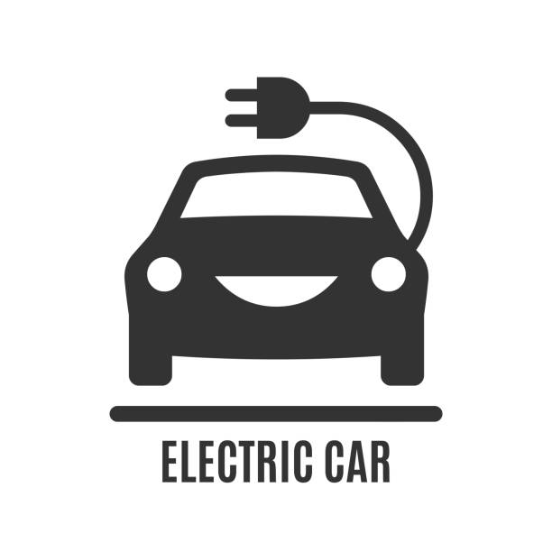 Electric car icon. Electricity eco power vehicle with plug and cord silhouette sign. Electric car icon. Electricity eco power vehicle with plug and cord silhouette sign. electric vehicle stock illustrations