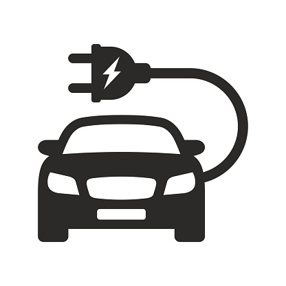 Electric car icon. EV. Electric vehicle. Charging station.