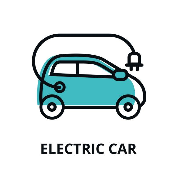 Electric car icon for graphic and web design Modern flat thin line design icon, vector illustration, infographic concept of alternative energy. Electric car icon for graphic and web design electric vehicle stock illustrations