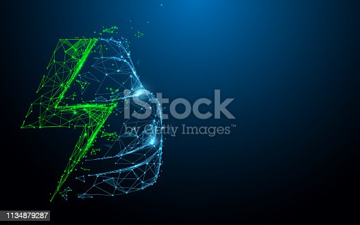istock Electric car icon from lines, triangles and particle style design. Illustration vector 1134879287