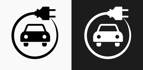 Electric Car Icon on Black and White Vector Backgrounds Electric Car Icon on Black and White Vector Backgrounds. This vector illustration includes two variations of the icon one in black on a light background on the left and another version in white on a dark background positioned on the right. The vector icon is simple yet elegant and can be used in a variety of ways including website or mobile application icon. This royalty free image is 100% vector based and all design elements can be scaled to any size. hybrid vehicle stock illustrations