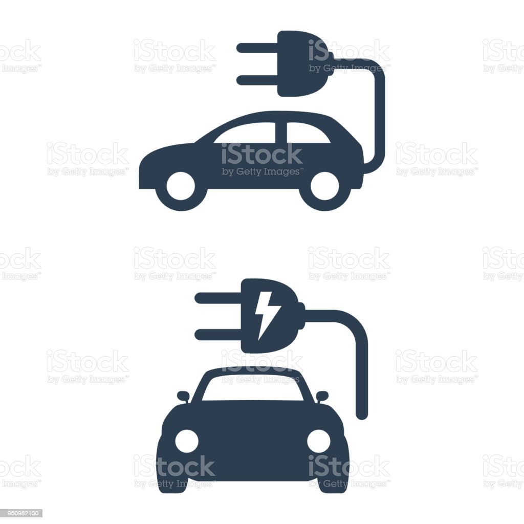 Electric Car Icon On White Background Stock Vector Art More Images