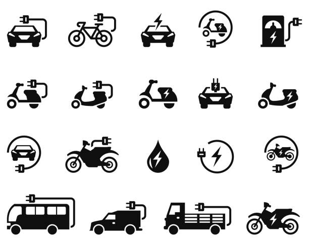 Electric car icon set Electric car icon set , illustration electric vehicle stock illustrations