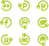 Set of 9 green electric vehicle theme icons with subtle gradient. Adjustable colors.