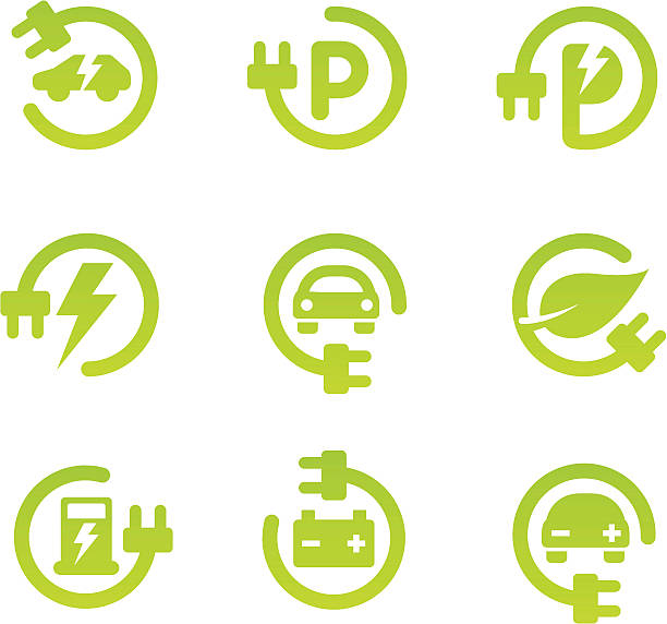 Electric car icon set Set of 9 green electric vehicle theme icons with subtle gradient. Adjustable colors. hybrid vehicle stock illustrations