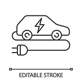 Electric car linear vector icon. Eco friendly auto. Thin line. Green vehicle. Automobile with electric plug. Editable stroke
