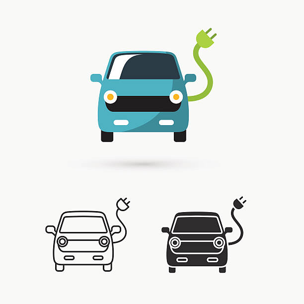 electric car icon This is a vector illustration of electric car icon  electric car stock illustrations