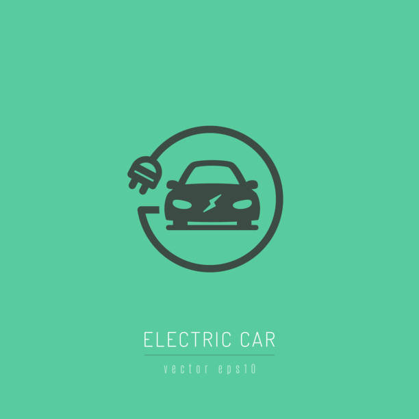 Electric Car Icon Electric car icon with charging cable vector illustration electric vehicle charging station stock illustrations