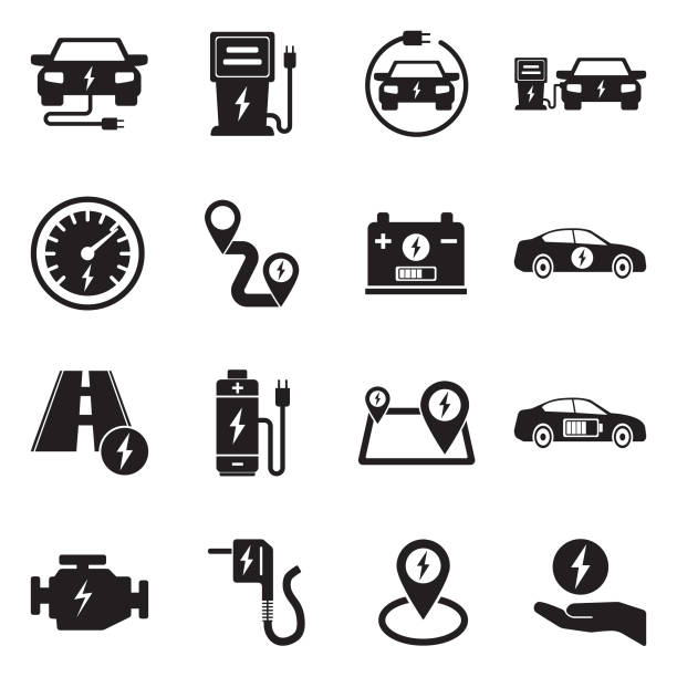 Electric Car Icons. Black Flat Design. Vector Illustration. Electric, Vehicle, Hybrid, Battery, Distance electric car stock illustrations