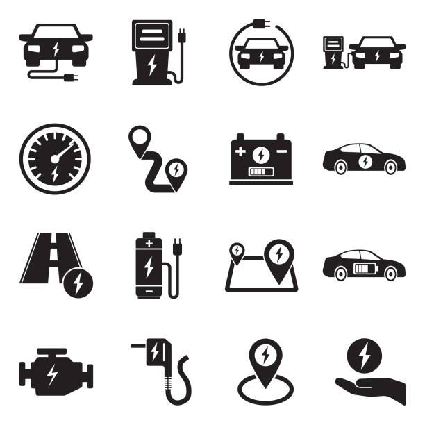 Electric Car Icons. Black Flat Design. Vector Illustration. Electric, Vehicle, Hybrid, Battery, Distance electric vehicle stock illustrations