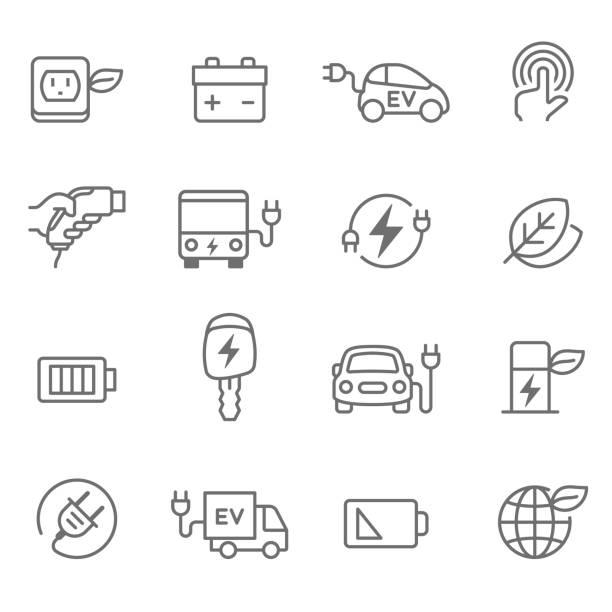 Electric Car Icons - Illustration Electric Car, Car, Electric Vehicle, Charging electric vehicle stock illustrations