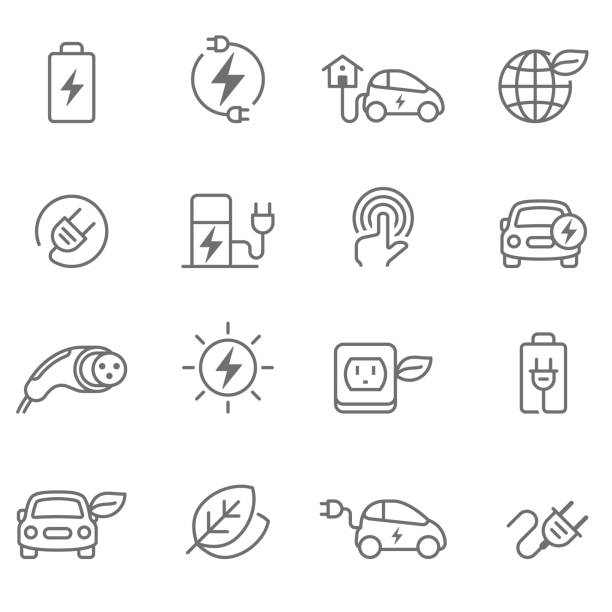 Electric Car Icons - Illustration Electric Car, Car, Electric Vehicle, Charging wired stock illustrations