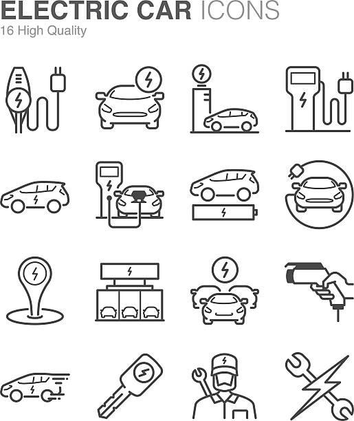 Electric Car icons Electric Car icons electric vehicle stock illustrations